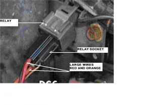 This picture shows a typical relay and socket found on most AutoPark systems